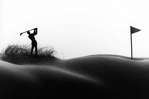 Golfer in the rough